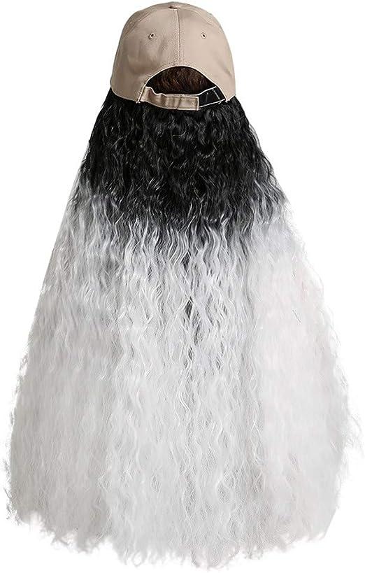 PRINCER Peluca con capucha de color blanco y negro ...