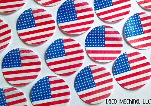 RICE PAPER CELEBRATION BIRTHDAY 30 24 AMERICA USA FLAG CUPCAKE TOPPERS