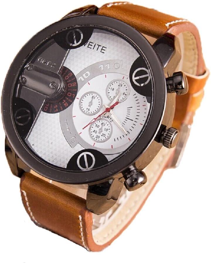 Xinantime Relojes Hombre,Xinan Análogos Deporte Caja Acero del Cuero Cuarzo Reloj Pulsera (Blanco)