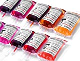WYNK Halloween IV Blood Bags/Party Cups,Vampire Party Decorations, Live Blood of Theme Parties Supplies, IV Bags for Drink Containers 11.5 Fl Oz(10 Packs), Nurse Graduation Party Props