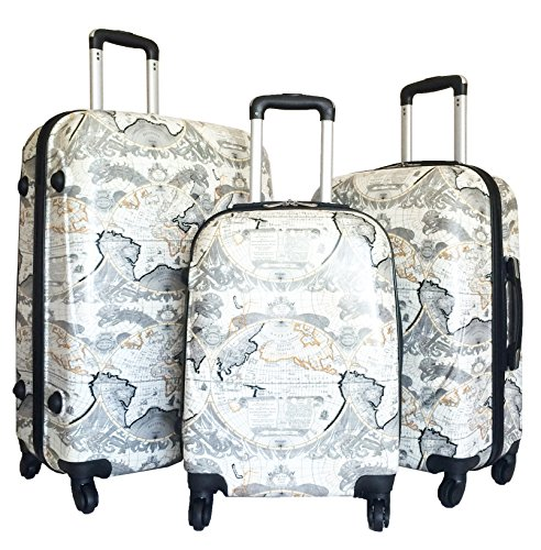 3pc Luggage Set Hardside Rolling 4wheel Spinner Upright Carryon Travel Poly ()