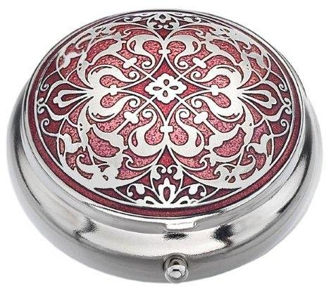 Celtic Gem - Pill Box (standard size ) in an Arabesque Design in Red Color