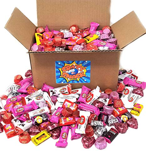 Valentines Day Candy Mix, Assorted Chocolate Candy - KitKat, Hersheys Bar Miniatures, Cadbury Chocolate Hearts, Reeses Miniatures, 5 Pound Bulk Pack