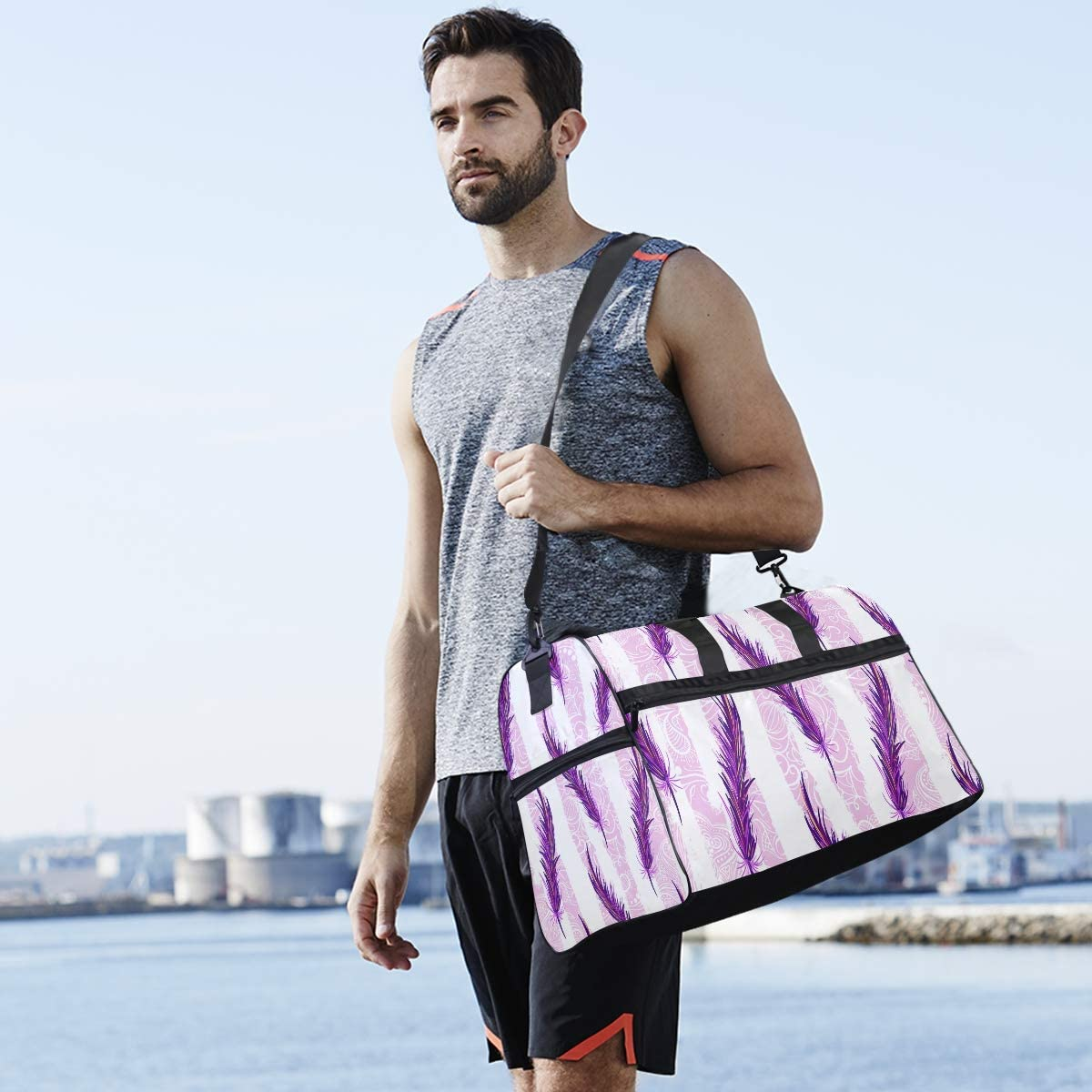 AHOMY Purple Feather Sports Gym Bag with Shoes Compartment Travel Duffel Bag