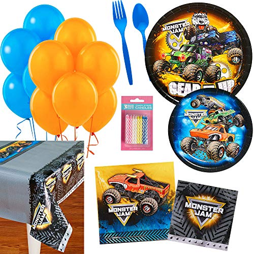 BirthdayExpress Monster Jam Party Supplies Kit for 16 ()