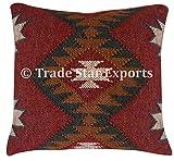 Kilim Pillow Cover, Vintage Square Cushion, Handwoven Pillow Case, Ethnic Pillow Cover 18 X 18, Indian Jute Cushions, Decorative Pillow Sham, Kelim Rug Cushion Cover, Home Decor Pillows (Pattern 11)