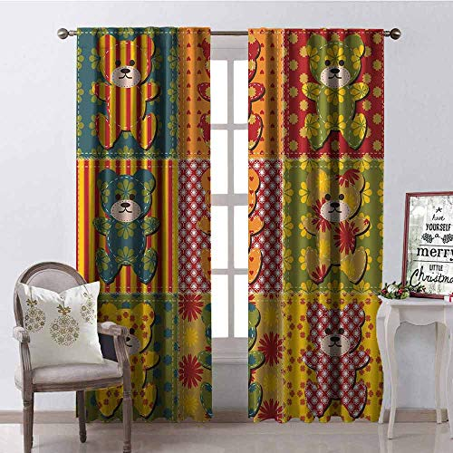 GloriaJohnson Cabin Decor Shading Insulated Curtain Colorful Kids Room Pattern with Patchwork Style Teddy Bears Cute Funny Childish Soundproof Shade W42 x L84 Inch Multicolor