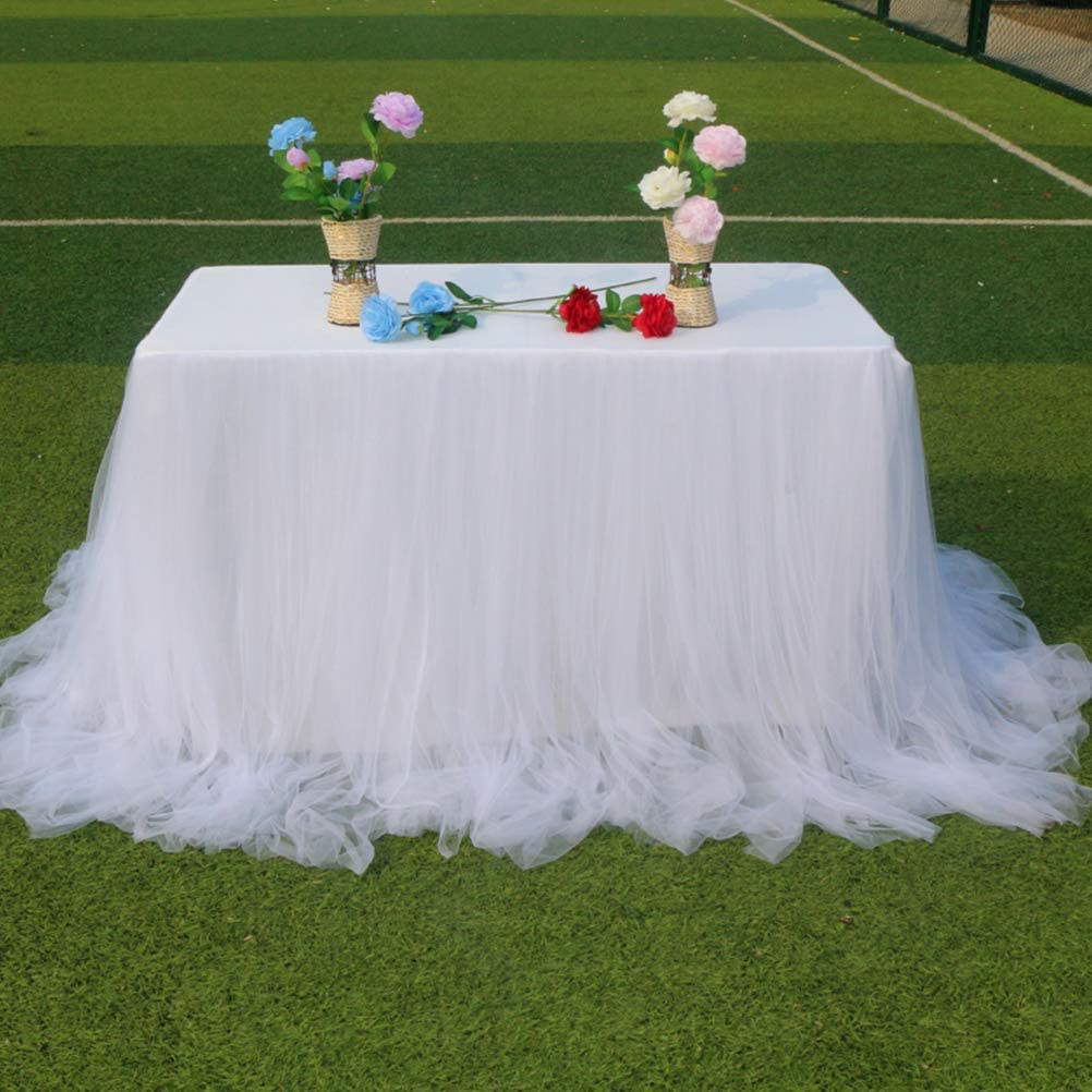 9ft White Table Skirt Tulle Tutu Table Skirt For Rectangle or Round Table Tulle Tableware Table Cloth For Party Wedding Birthday Party Home Decoration,Table Skirting