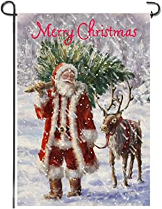 Merry Christmas Garden Flag, Santa Tree Elk Snow Rustic Burlap Xmas Quote Seasonal Double Sided Bunting Small Holiday Premium Flag Sign Yard Lawn Porch Indoor Outdoor House Decoration, 12x18 Inch