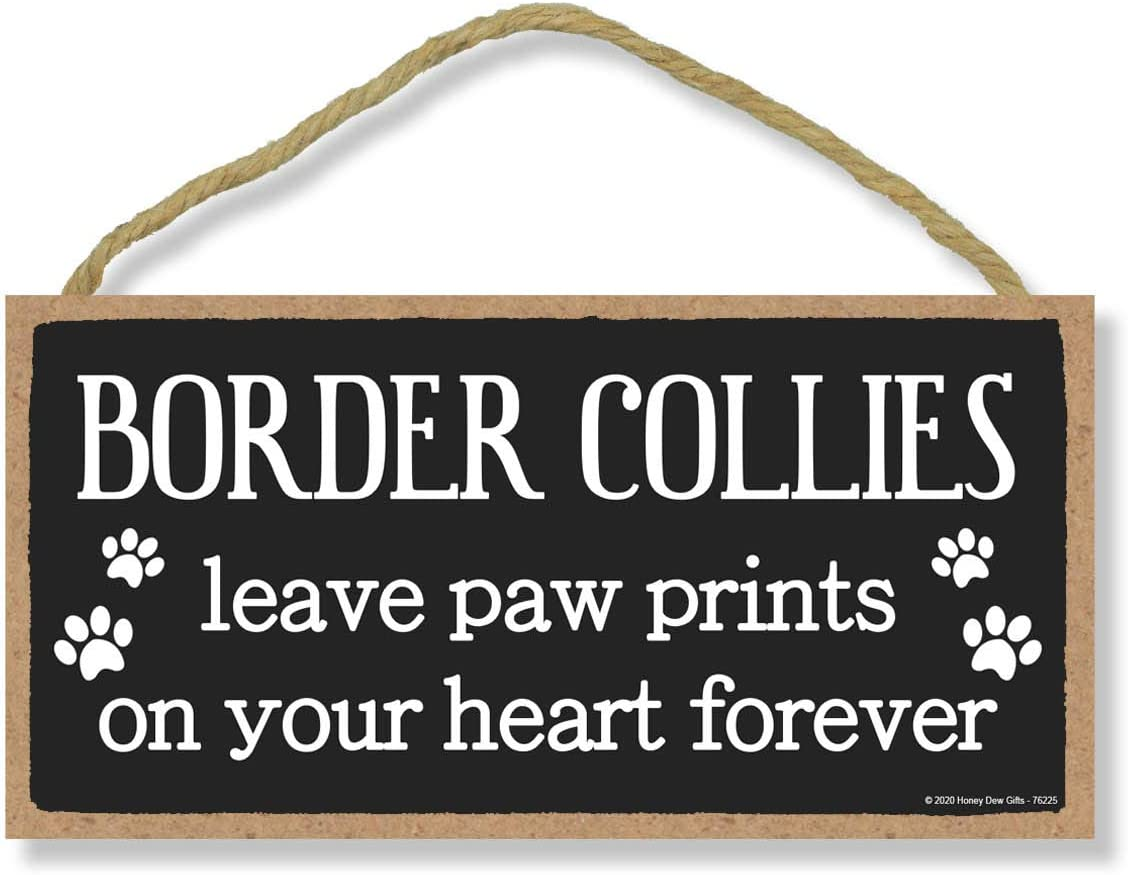 Honey Dew Gifts Border Collies Leave Paw Prints, Wooden Pet Memorial Home Decor, Decorative Dog Bereavement Wall Sign, 5 Inches by 10 Inches