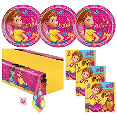 Fancy Nancy Birthday Party Supplies Set - Tablecover Decoration, Plates, Napkins and Sticker (Standard - Serves 16): Toys & Games