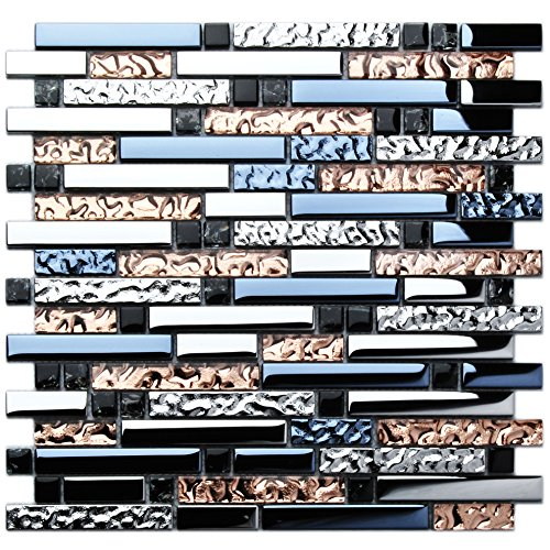 TST Mosaic Tiles Crystal Glass Tile Rose Gold Interlocking Chrome Silver Black Ink Blue Mosaic Bath Kitchen Fireplace Decor TSTGT107 (5 Square Feet)