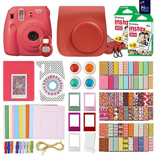 FujiFilm Instax Mini 8 Camera Raspberry + 40 Instax Film + Accessories KIT for FujiFilm Instax Mini 8 Includes: Case Frames + 64 Page Photo Album + Selfie Lens + Colored Filters + More