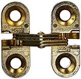SOSS Mortise Mount Invisible Hinges with 4 Holes, Zinc, Satin Brass Finish, 1'' Leaf Height, 3/8'' Leaf Width, 15/32'' Leaf Thickness, #5 x 3/4'' Screw Size (1 Pair)