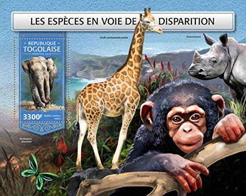 USPS Togo - 2018 Endangered Species - Stamp Souvenir Sheet - (Endangered Species Stamps)