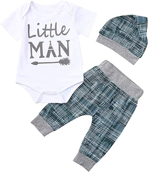 Little Man Newborn Infant Baby Boy Tops Romper Long Pants Hat Outfits Clothes