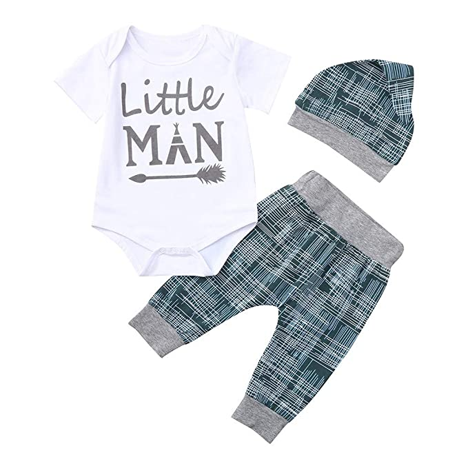 0-18Months,SO-buts Newborn Baby Boy Summer Clothes Letter Romper Tops+Pants Hat Outfits Set