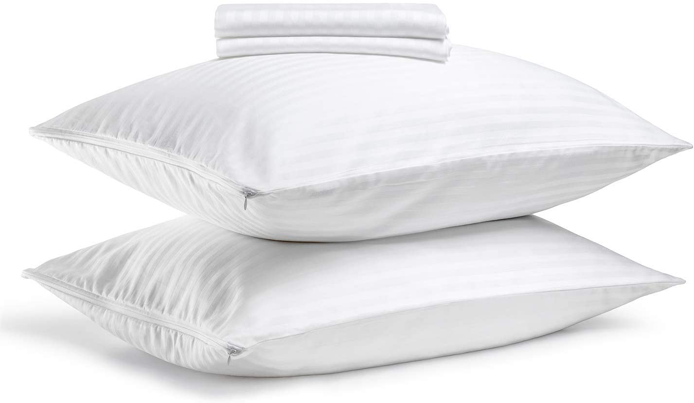 FAUNNA, Zippered Pillow Protectors Cover Case (King, 20x36) (4-Pack) - Hypoallergenic Comfortable Sateen 100% Long-Staple Cotton
