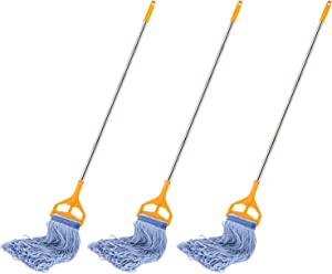 3 Pack Best Value 56-inch Quick Change Stainless Steel Mop Handles with 3 Loop-End Mop Heads for Home, Commercial and Industrial Use (56 inch)