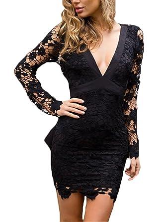 sección especial buscar autorización diseñador de moda Vestidos De Fiesta Cortas Mujer Elegante Encaje Manga Larga ...