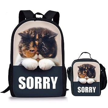 4a3002006cb HUGS IDEA Sorry Kitten Backpack Lunch Bag Set Cute School Bag Bookbag for  Kids Girls Boys