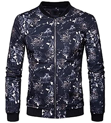Winwinus Mens Stylish Coat Zip-up Outwear Floral Stand-collar Fitted Jacket