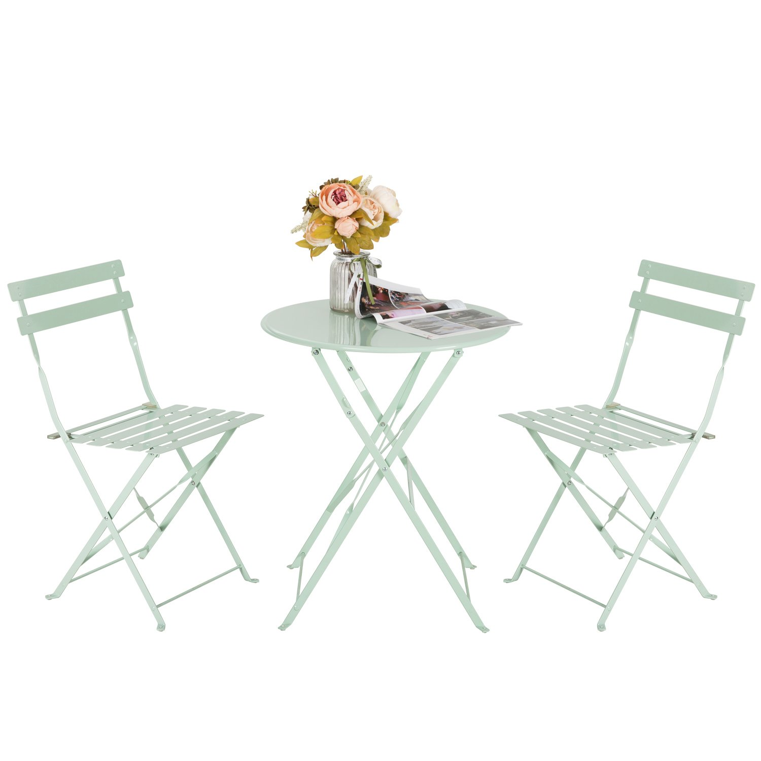 Marble Field Patio 3-Piece Folding Bistro Furniture Set, Outdoor&Balcony Table and Chairs Sets, Light Green by Marble Field