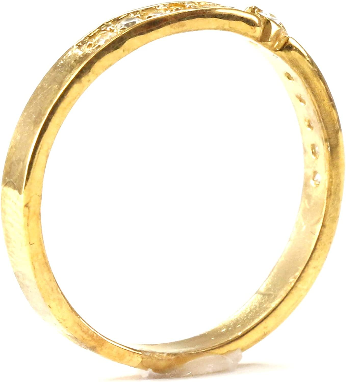 Forever22karat 22k Simple Charm Zirconia Solid Gold Ring Band 22k Plated R2123