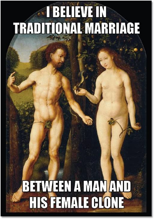 "I Believe in Traditional Marriage Between Man and Female Clone Refrigerator Magnet - [3"" x 2""]"