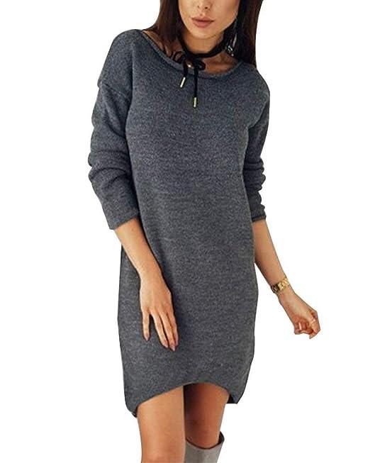 Vestidos Mujer Winterkleid Otoño Vestido Elegantes Manga Largo Cuello Redondo Pullover Mini Vestido Color Sólido Casual Sencillos Sudaderas Vestido De Punto ...