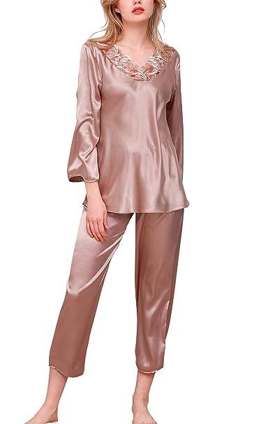 Batas Mujer Elegante Colores Sólidos Manga Largo V-Cuello Conjunto De Pijama Primavera Splice Encaje