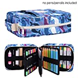 202 Colored Pencils Pencil Case/136 Color Gel pens Pen Bag/Marker Organizer - Universal Artist use Supply School Zippered Large Capacity slot Super Big Professional Storage qianshan dolphin