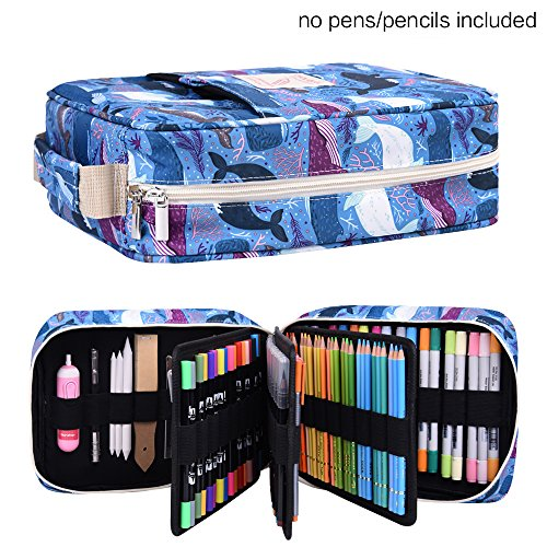 202 Colored Pencils Pencil Case/136 Color Gel pens Pen Bag/Marker Organizer - Universal Artist use Supply School Zippered Large Capacity slot Super Big Professional Storage qianshan dolphin by qianshan