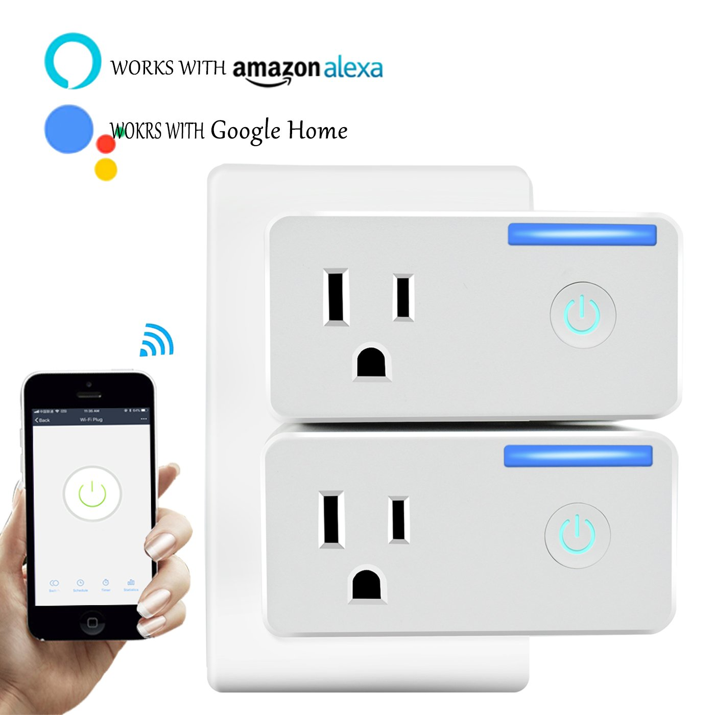 Cxy Smart Plug Socket (15A) Phone Controlled plug with Energy monitoring for Household Appliances, No Need Hub, Works with Echo & Google Home for Voice Control, Occupied only 1 socket.(2 pack)
