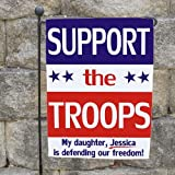 "GiftsForYouNow Personalized Support Our Troops Double Sided Garden Flag, 18"" h. Indoor/Outdoor Use. Great for Military Families For Sale"