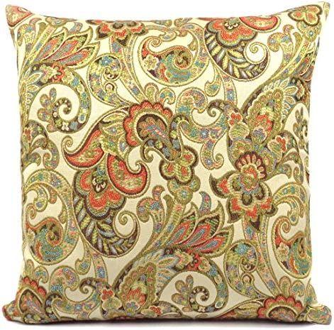 Cate Chestnut Pelion Pillow 20 x 20 Corals, Tans, Blues, Browns, and Greens Handmade in USA