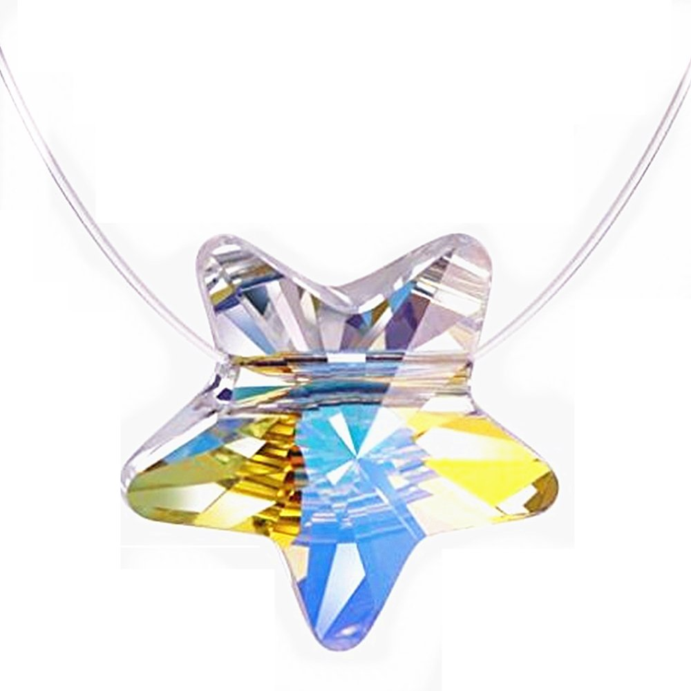 LOCHING Chic Fishing Line Necklace Color Square Hollow Cube Star Color Change Austrian Crystal Stealth Necklace (Star)