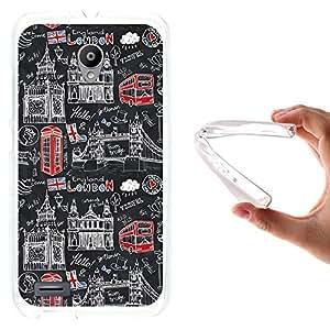 WoowCase - Funda Gel Flexible { Vodafone Smart Prime 6 } Simbolos Londres Inglaterra Carcasa Case Silicona TPU Suave