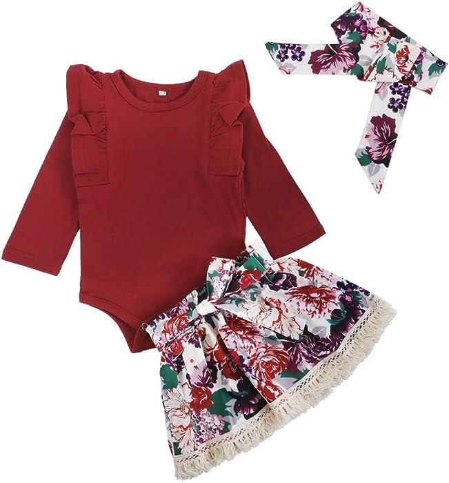 1f09a331ee79 Amazon.com  3Pcs Set Infant Baby Girl Ruffle Long Sleeve Romper+ ...