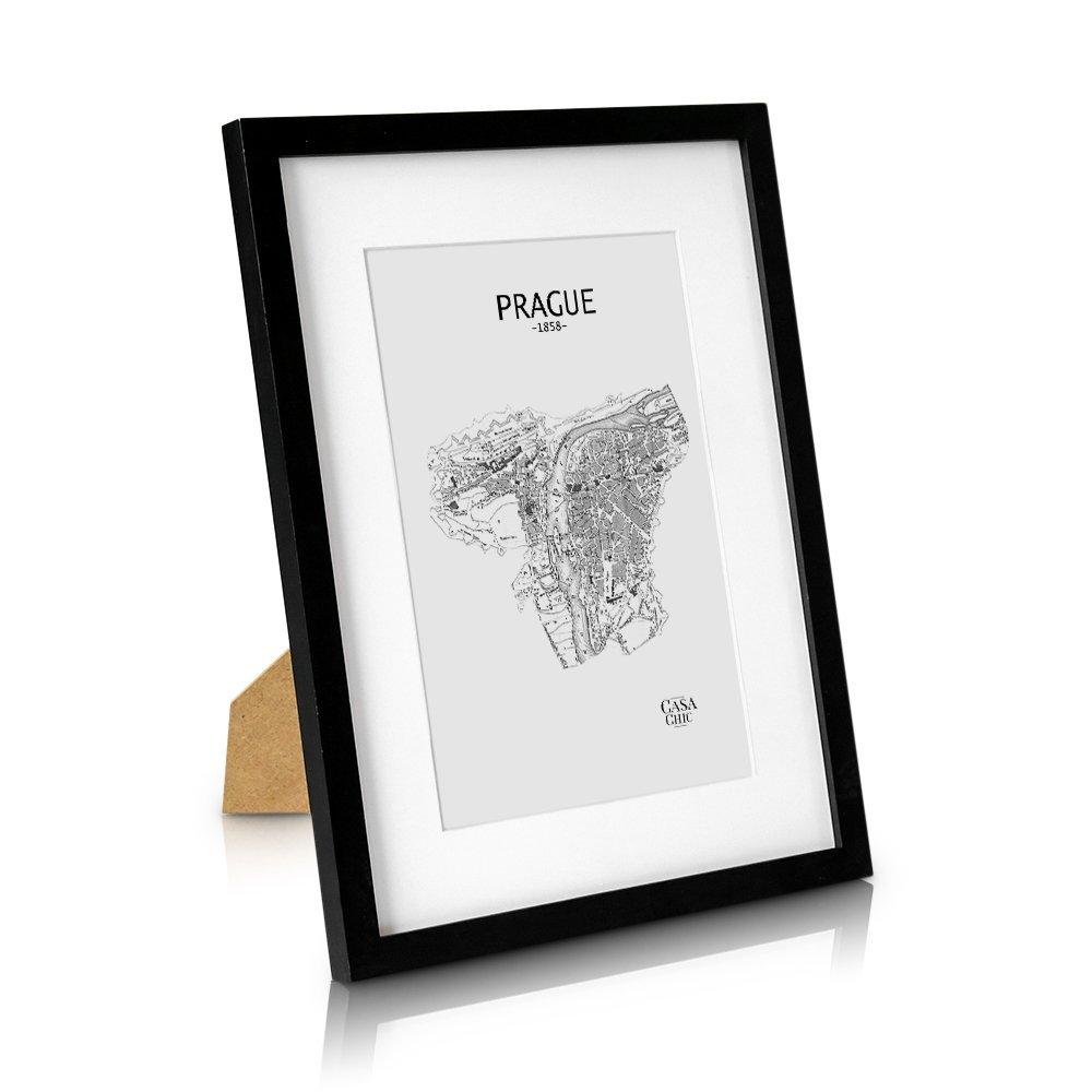 Classic by Casa Chic Cadre 30x40 cm pour Photo en Bois Massif - Passe-Partout pour Photo DE 20 x 30 cm Inclus - Vitre en PLEXIGLAS - Système d'accroche Inclus - Profil de Cadre 2 cm - Noir product image