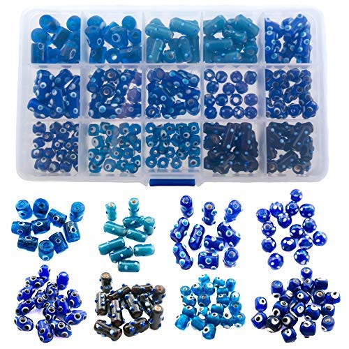 180 Pieces Blue Evil Eye Glass Beads for Jewelry Making - DIY Starter Kit for Adults - Free Leather Necklace and Bracelet for Inspiration - Wholesale Craft Supplies -