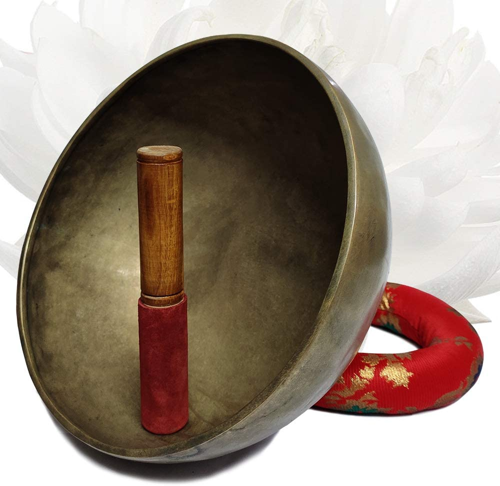 Bag Flag Mallet Cushion /& Potli Hand Crafted Tibetan 10 Inch Hammered Singing Bowl Set By Trumiri Helpful for Meditation Chakra Healing Relaxation Peace Mindfulness with Premium Tulsi Beads
