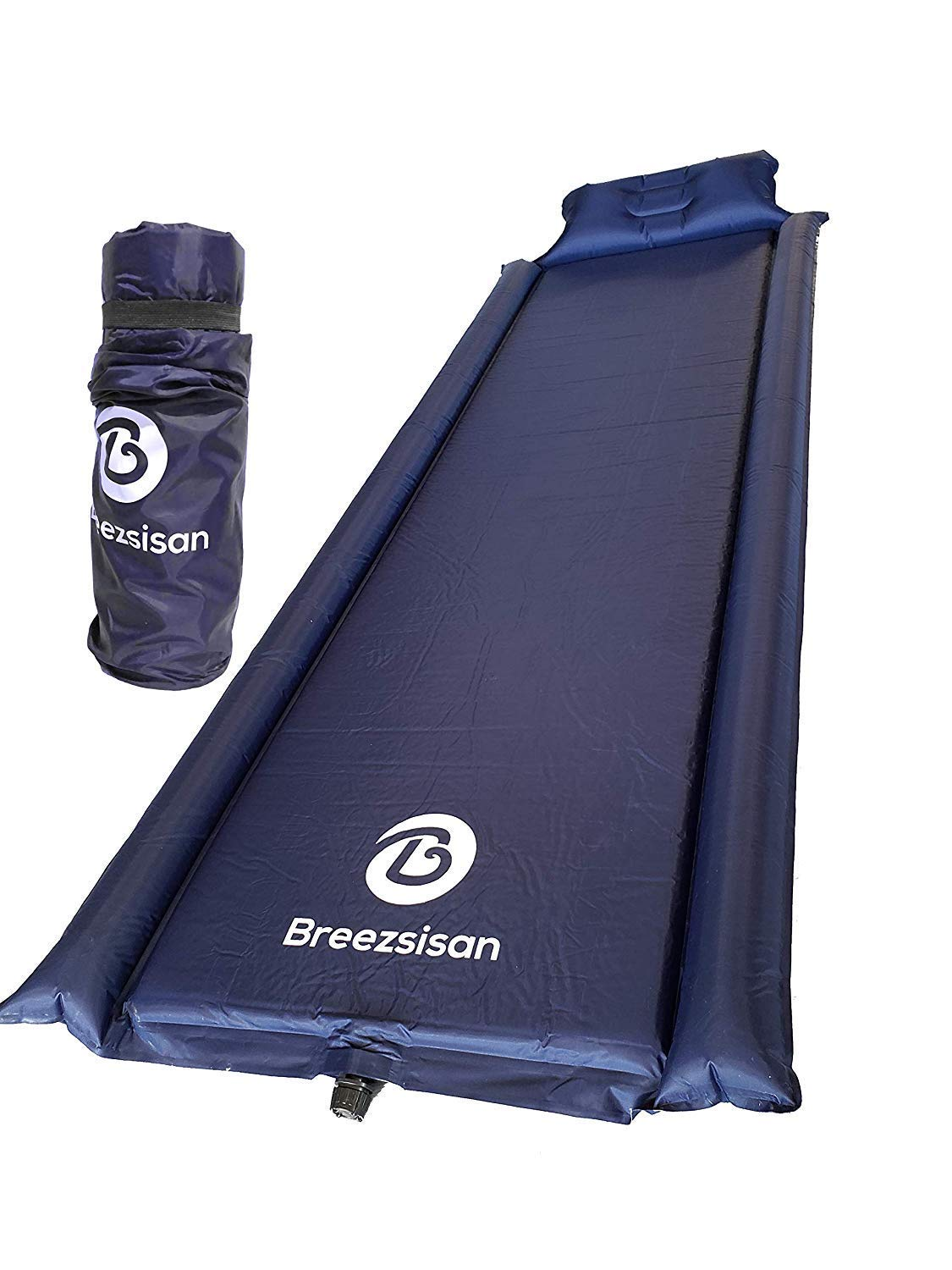 Breezsisan Sleeping pad with Attached Pillow Armrest. Inflatable Light Large Camp Mat-Compact Long Pads-Self-Inflating Foam Air Mattress for Hiking Backpacking Cot Hammock Tent Sleep Bag & Camping by Breezsisan