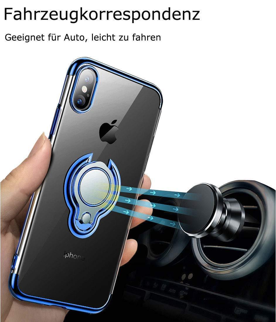 Caler H/ülle Kompatible Huawei P30 Handyh/ülle Soft Silikon H/ülle Ultra D/ünn TPU Bumper Case 360 Grad Ring Stand Magnetische KFZ-Halterung Autohalterung Schutzh/ülle f/ür Transparent