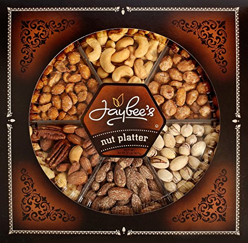 Jaybee's Nuts Gift Tray Extra Large - Great Corporate, Birthday or Holiday Gift - Cashews, Smoked Almonds, Mixed Nuts, Pistachios, Toffee & Honey Roasted Peanuts