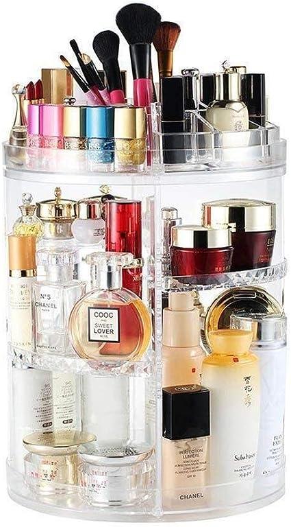 Estuche Cosmético Organizador giratorio del maquillaje, organizador giratorio del perfume Almacenamiento ajustable Joyería Cosméticos Caja del soporte de exhibición (Color : Transparent Color): Amazon.es: Belleza