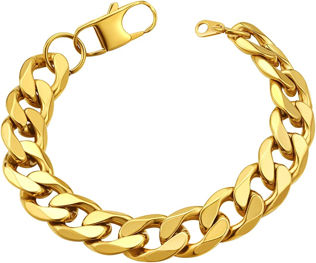 Chunky Mens Womens Cuban Link 13mm 18k Gold Plated Curb Chain Bracelet 7 5 Send Gift Box Amazon Ca Jewelry