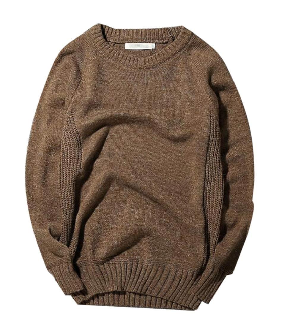 KLJR Men Pullover Crewneck Long Sleeve Elbow Patchwork Cable Knit Sweater