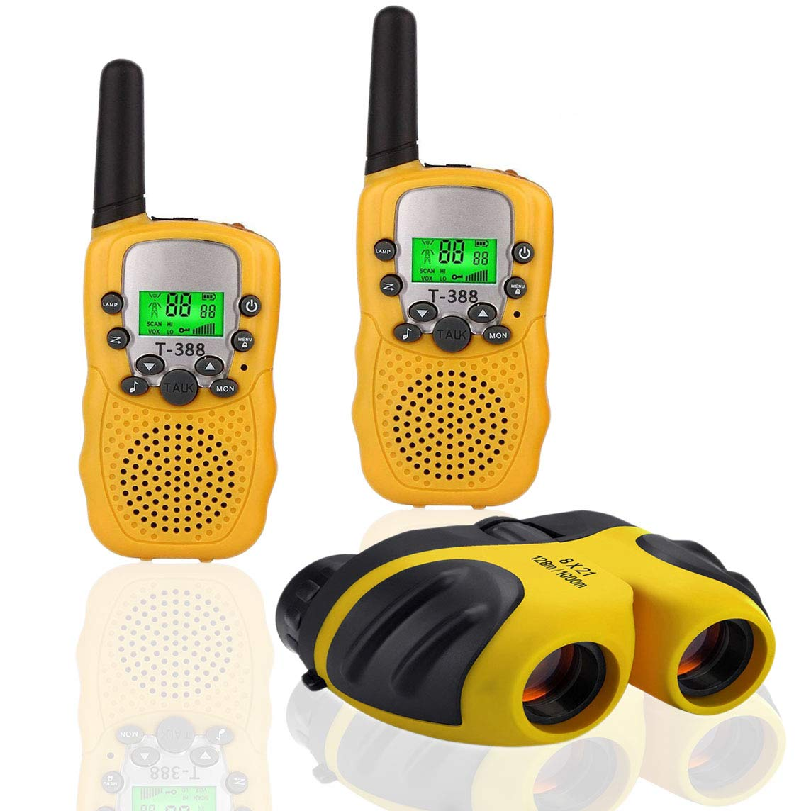 XIYITOY Best Gifts for Kid,Gifts for Girl 4-8 Year Old, Walkie Talkies Toys for Children with Built in Flash Light, 8 X 21 Kids Binoculars for Children,Cool Toys for 4-5 Year Old Boys,1 Parir(Yellow)