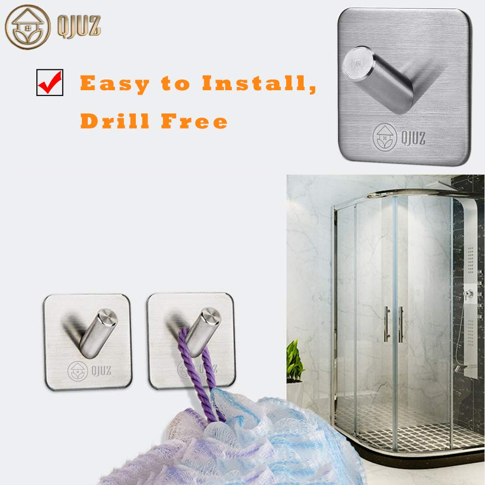 Towels Hooks Bathroom Kitchen Organizer for Hanging Robes//Towels//Clothes//Hats//Keys Wall Hooks Heavy Duty SUS304 Stainless Steel Super Powerful Stick on Hooks 4Packs QJUZ Adhesive Hooks